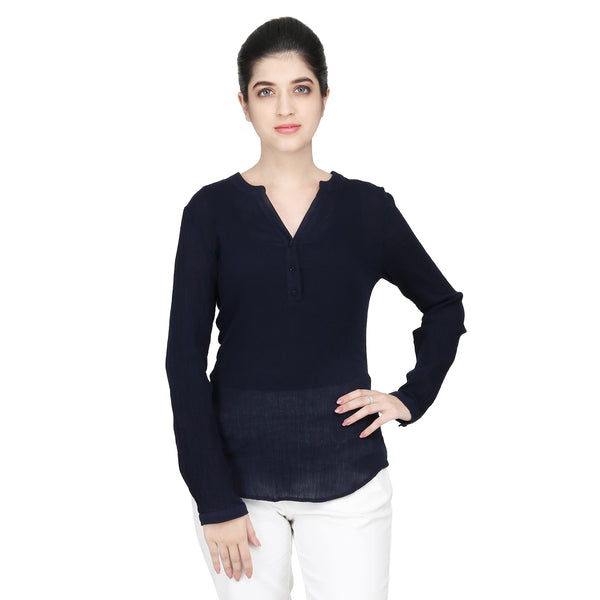 Navy Blue Cotton Crepe Woman Top - MissGudi