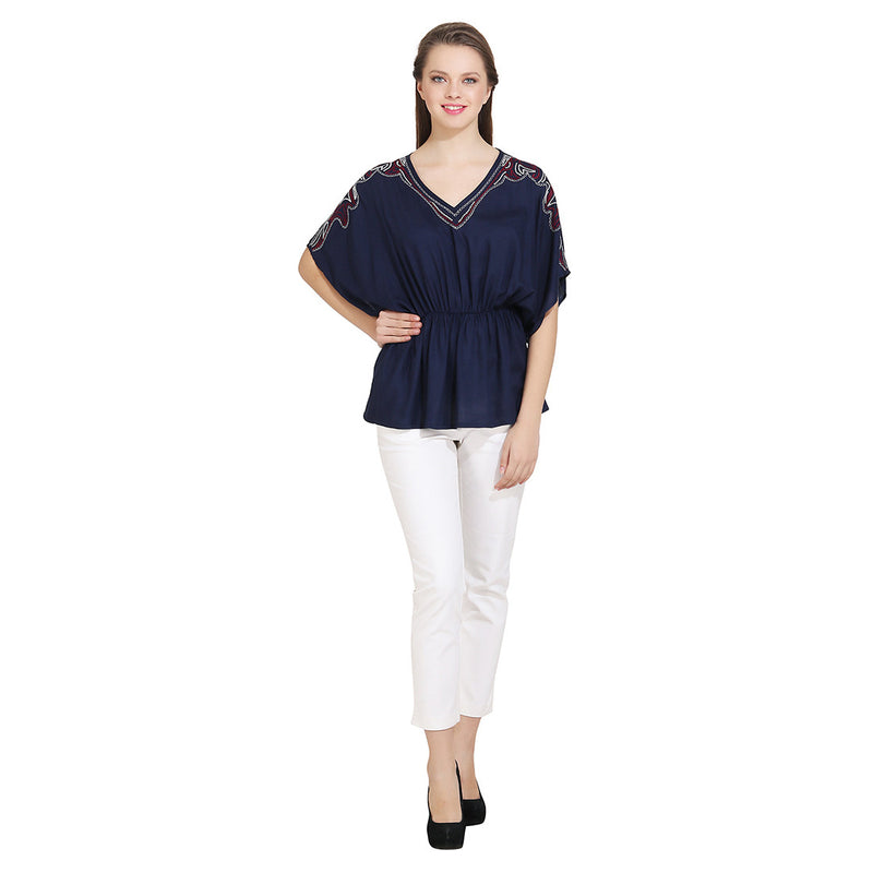 Navy Blue Embroidered Woman Top - MissGudi