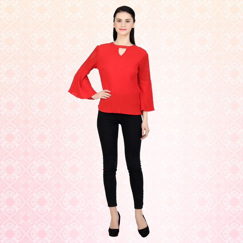 Red Cotton Crepe Bell Sleeve Top - MissGudi