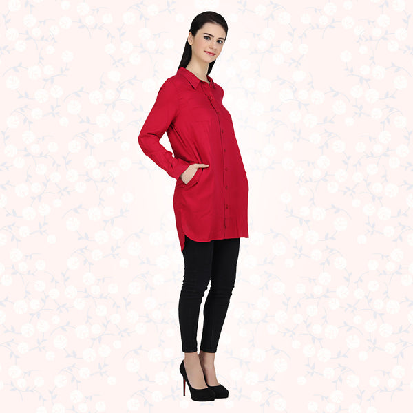 Red Viscose Long Length Shirt - MissGudi