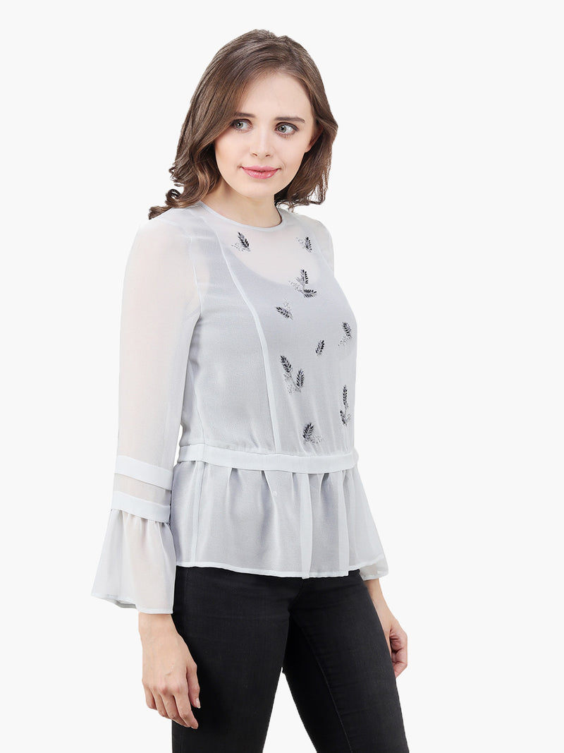 Sky Blue Georgette Woman Embellished Top - MissGudi