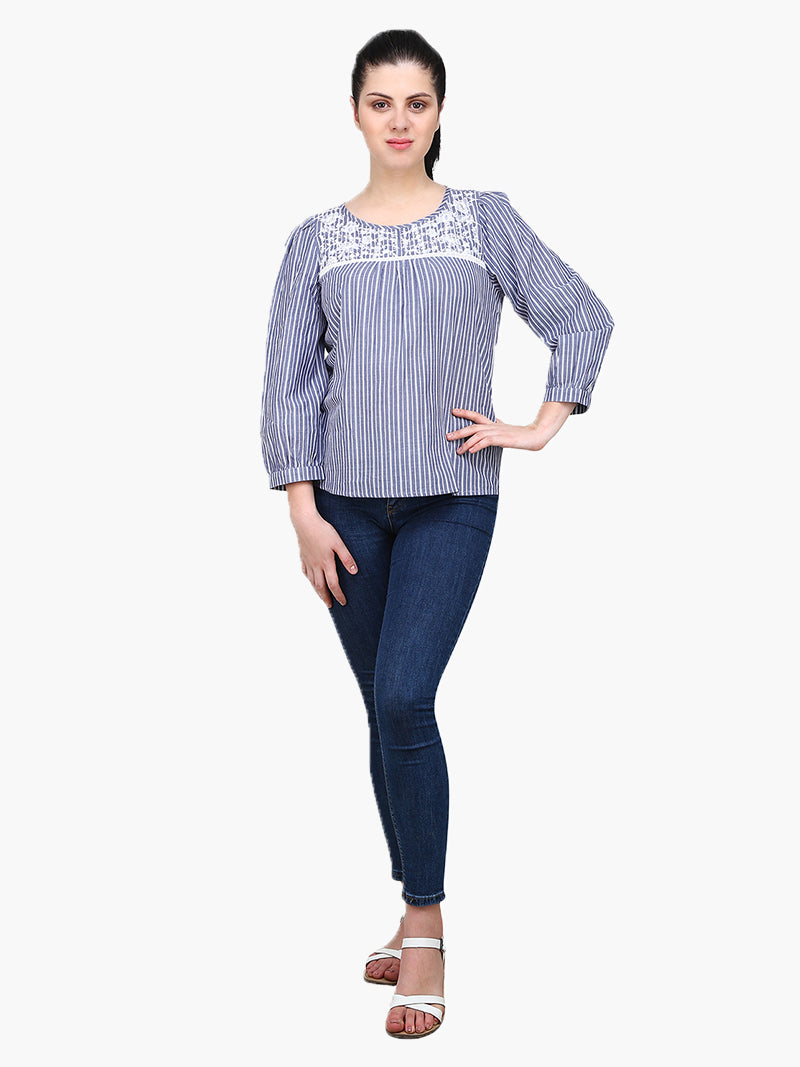 White & Blue Embroidered Woman Top - MissGudi