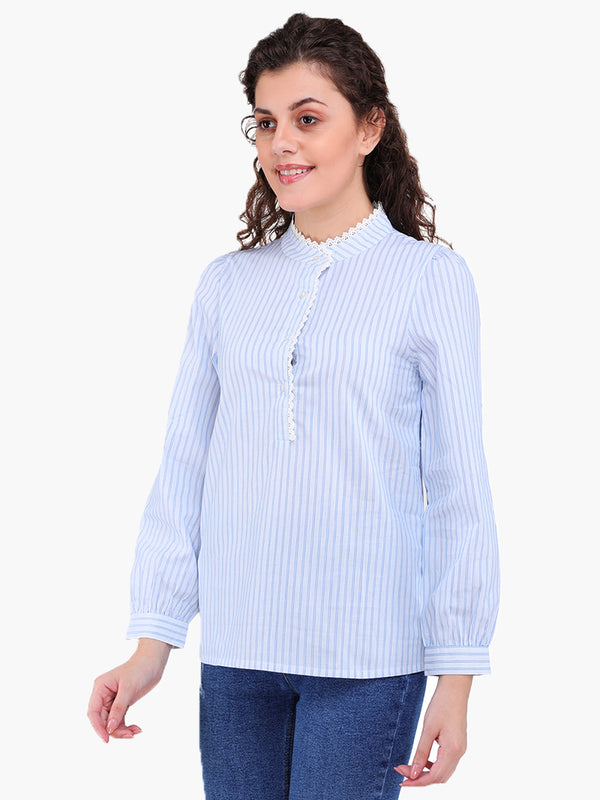 Zuwi Blue Striped Women Top