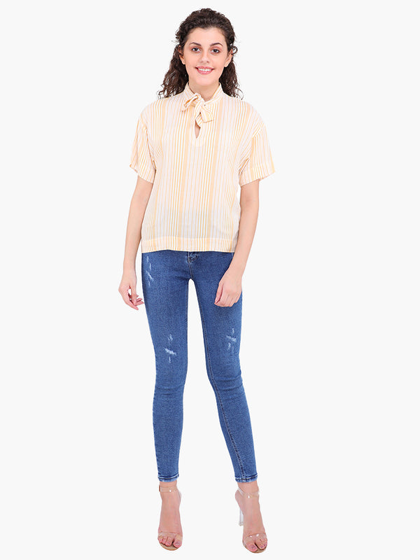Zuwi Yellow Striped Women Top