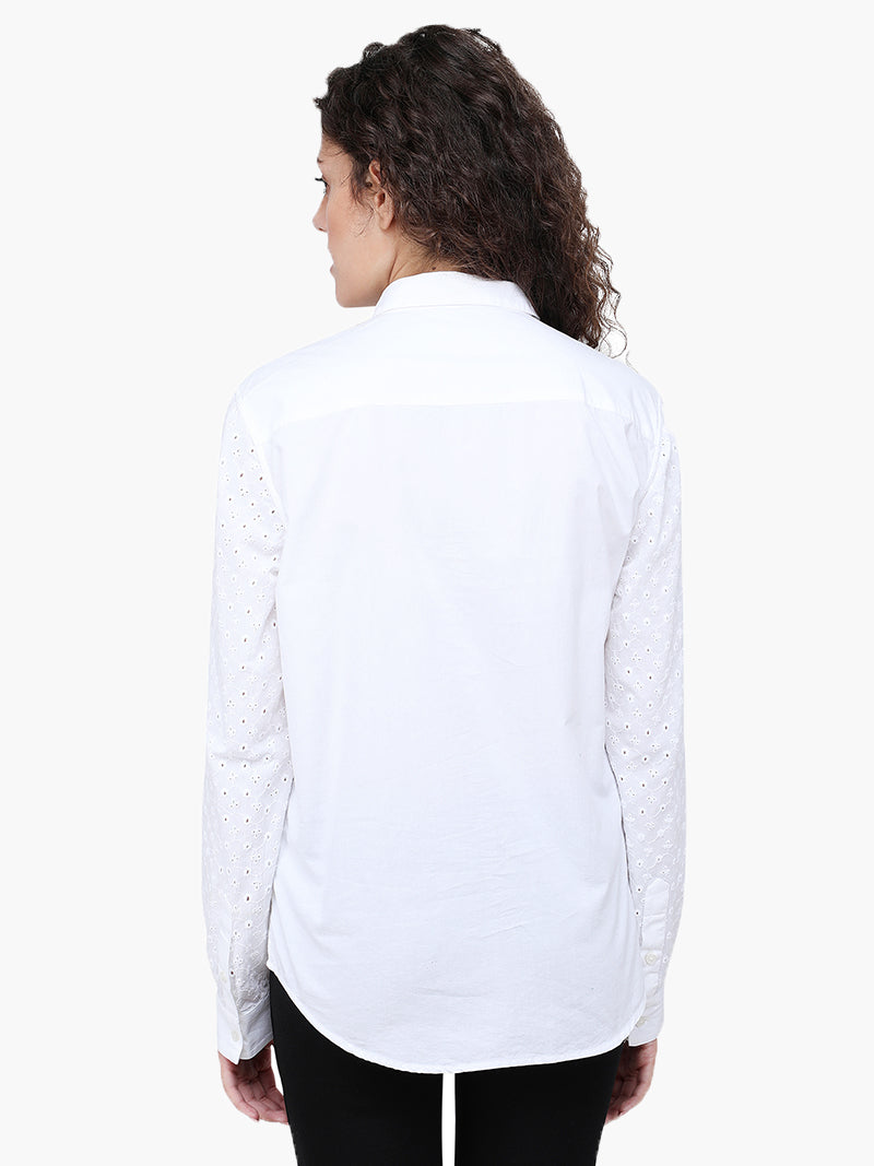 Zuwi White Schiffly Women Shirt