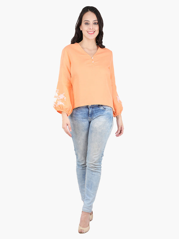 Zuwi Orange Embroidered Women Top - MissGudi