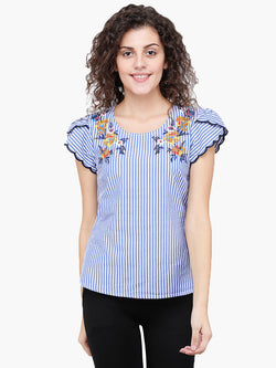 Zuwi Blue Stripe & Embroidered Woman Top - MissGudi
