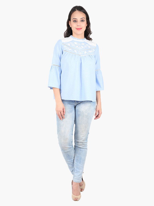 Zuwi Blue Lace Embroidered women Top
