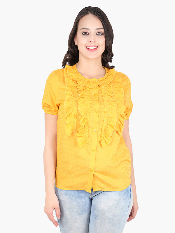 Zuwi Yellow Dobby Women Shirt - MissGudi