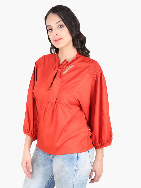 Zuwi Rust Orange Viscouse Women Top - MissGudi