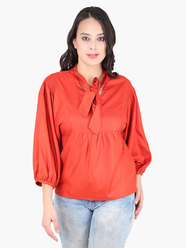 Zuwi Rust Orange Viscouse Women Top