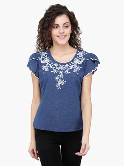 Zuwi Blue Embroidered  Woman Top - MissGudi