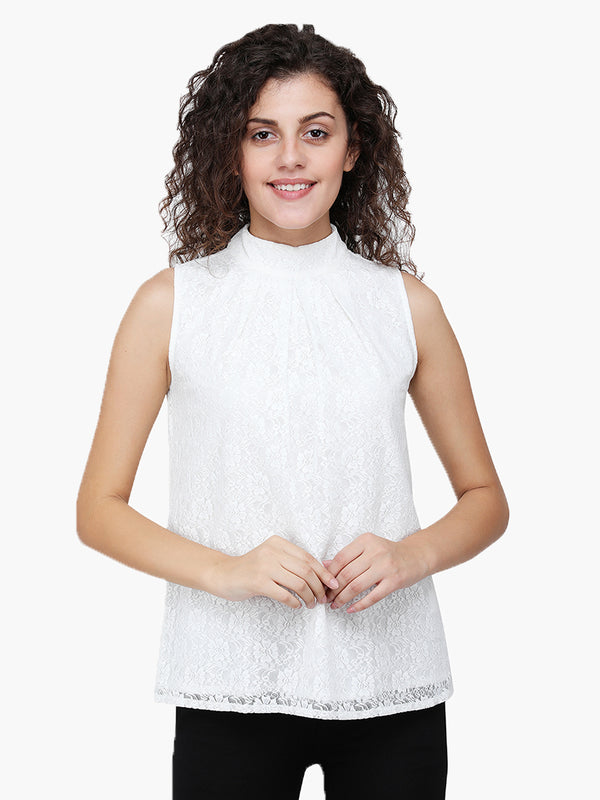 Zuwi White Floral Net Sleeveless Party Top - MissGudi
