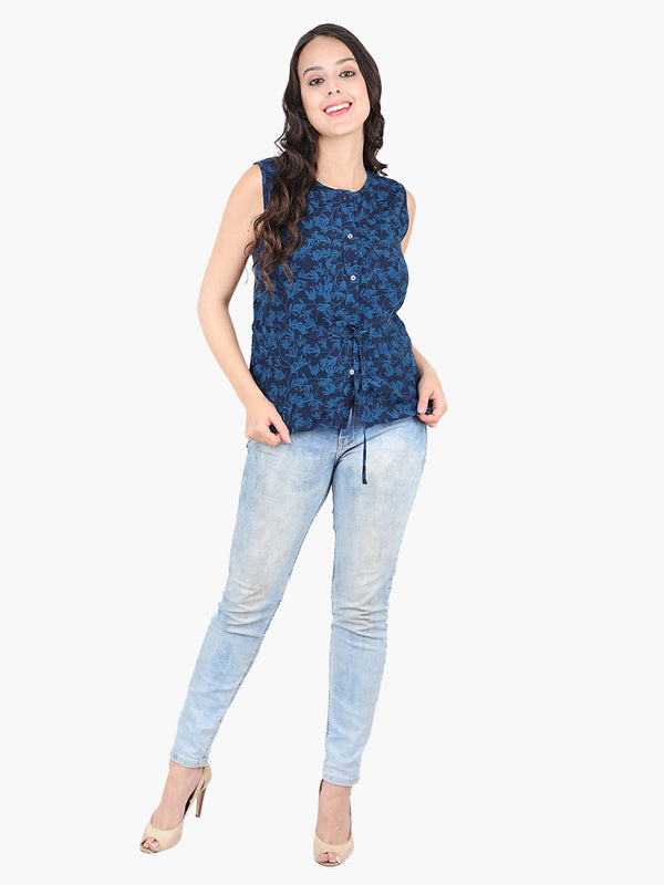Zuwi Blue Printed Top - MissGudi