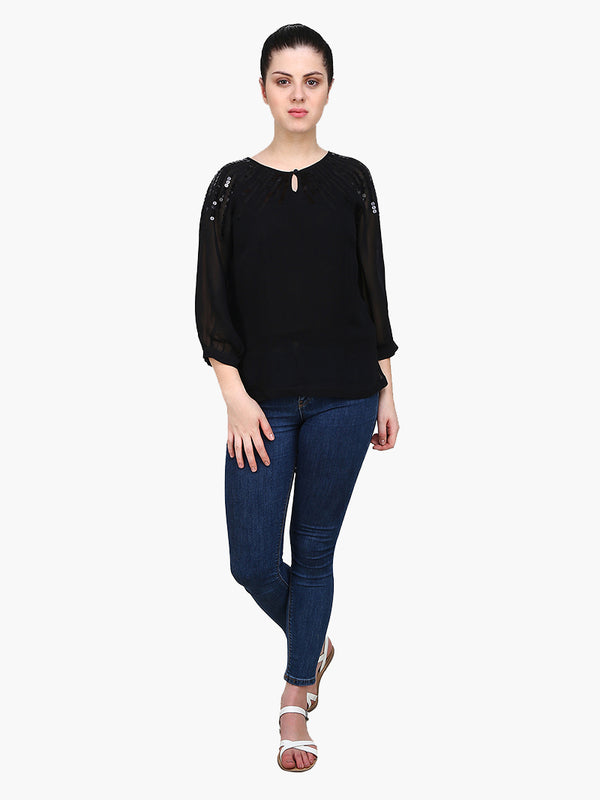 Black Embellished Woman Top - MissGudi