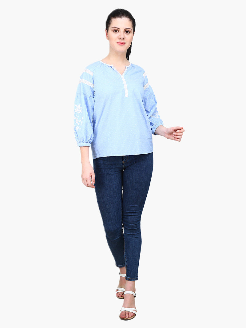 Blue Embroidered Woman Top - MissGudi