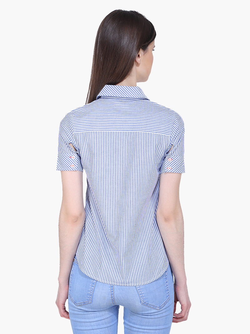 Zuwi Blue and White Striped Woman Top - MissGudi