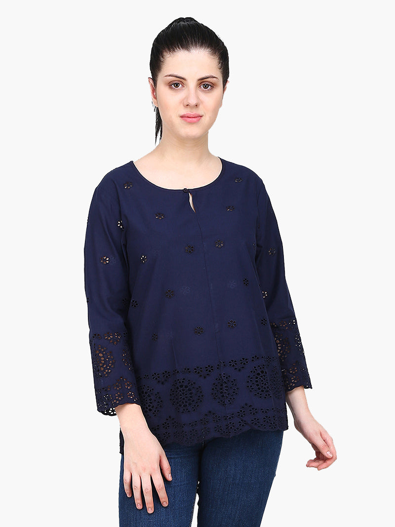 Dark Blue Cotton Cambric Shiffly Woman Top - MissGudi