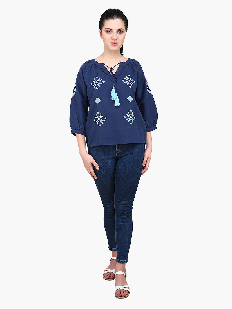 Dark Blue Embroidered Woman Top - MissGudi