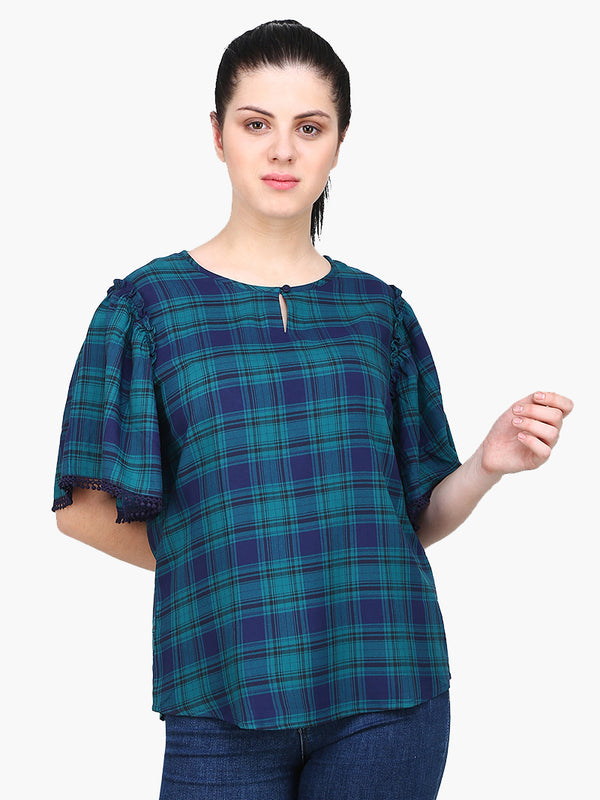 Zuwi Green Check Woman Top - MissGudi