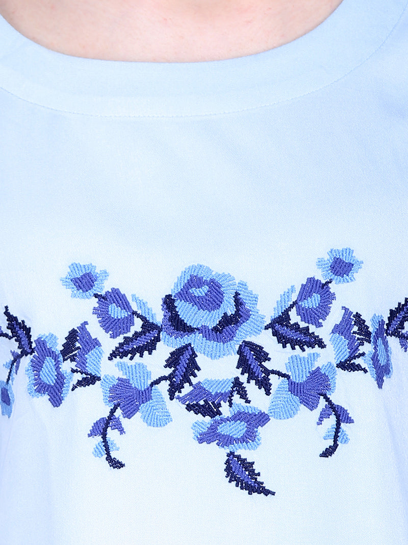 Light Blue Embroidered Woman Top - MissGudi