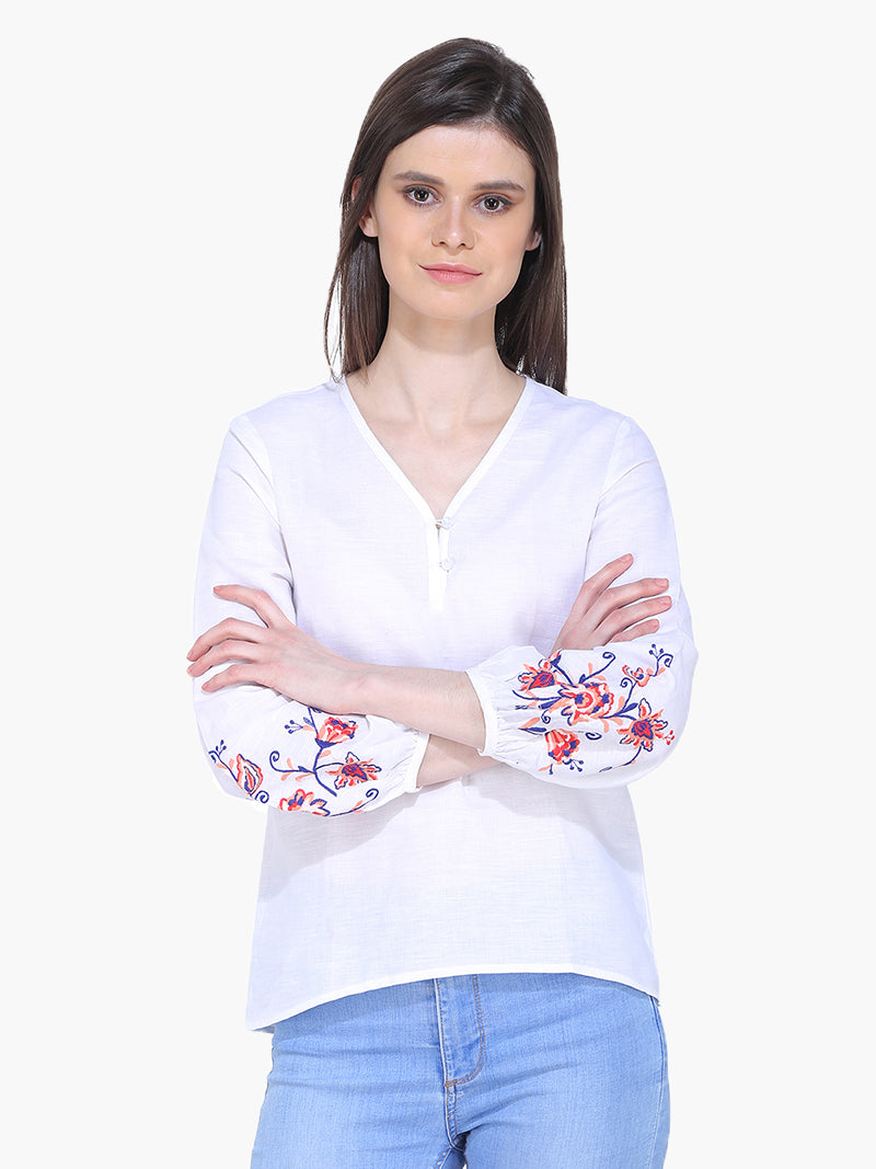 White Embroidered Woman Top - MissGudi