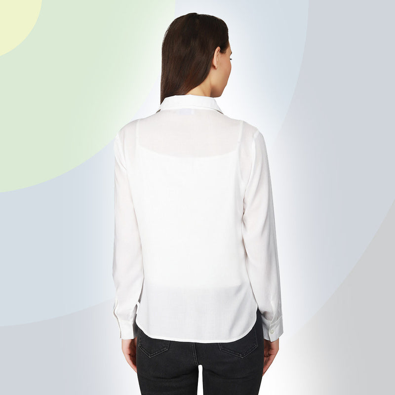 White Embellished Full Sleeve Cotton Shirt - MissGudi