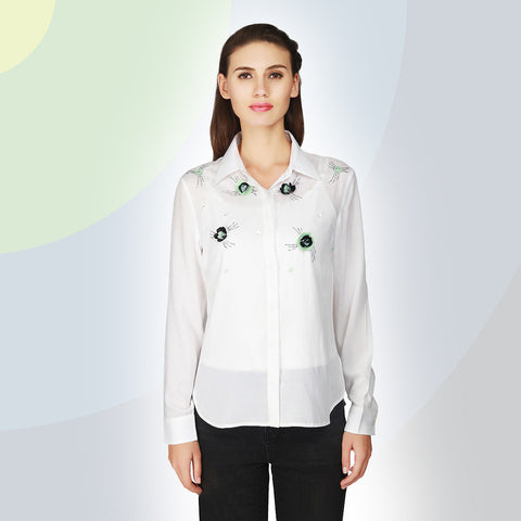 Gudi White Embellished Full Sleeve Cotton Shirt
