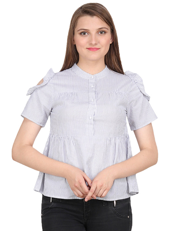 White Cotton Stripe Woman Top - MissGudi