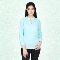 Sky Blue Embellished Viscose  Top - MissGudi