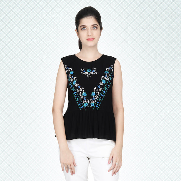 Black Embroidered Casual Sleeveless Top - MissGudi