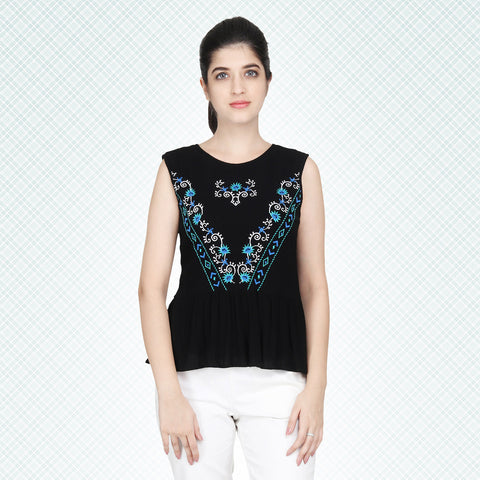 Gudi Black Embroidered Casual Sleeveless Top