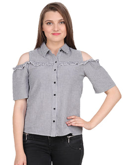 Grey White Striped Woman Shirt - MissGudi