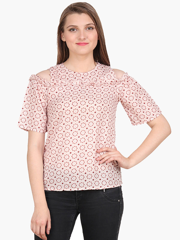 Peach Printed Cold Shoulder Ruffles Woman Top - MissGudi