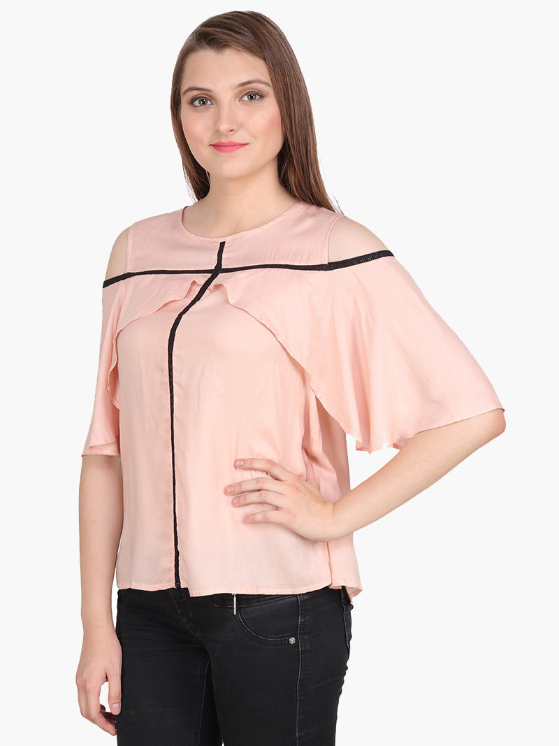 Peach Cold Shoulder Woman Top - MissGudi