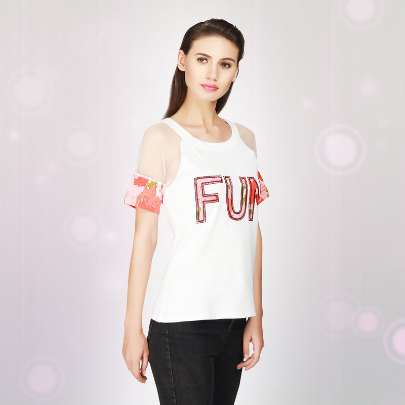 White Cotton Knitted Women Top - MissGudi