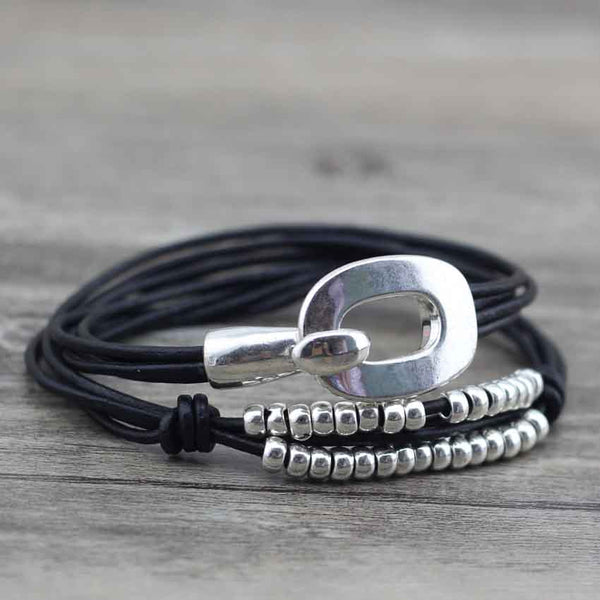 "Bracelet Wrap Vintage en Cuir ""Perfect Style"" - coloris noir 2"