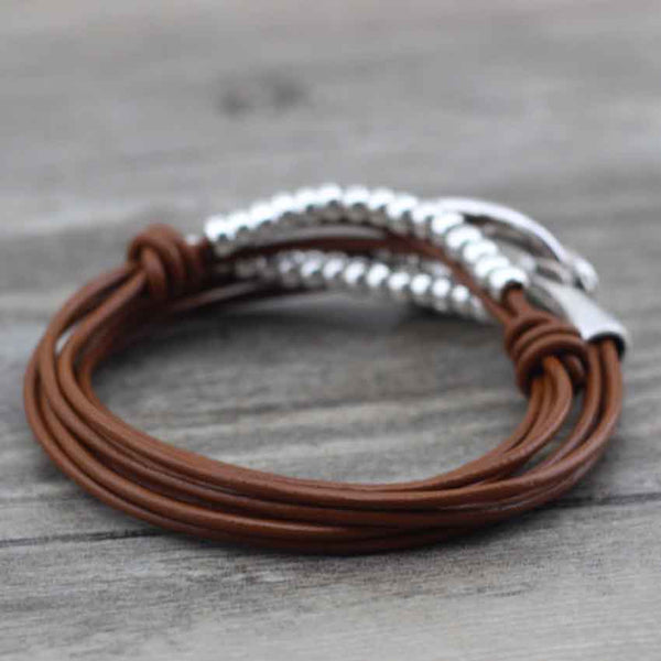 "Bracelet Wrap Vintage en Cuir ""Perfect Style"" - coloris café clair"