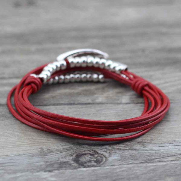 "Bracelet Wrap Vintage en Cuir ""Perfect Style"" - coloris rouge2"