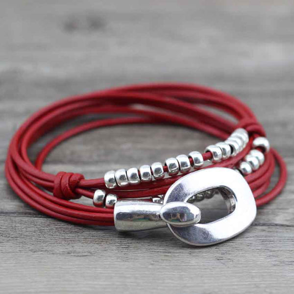 "Bracelet Wrap Vintage en Cuir ""Perfect Style"" - coloris rouge"