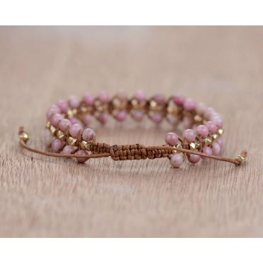 "Bracelet ""Douceur et Tendresse"" en Rhodonite - Ajustable"