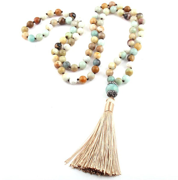 Collier Pompon en Amazonite