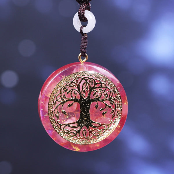 "Collier Orgonite ""Arbre de Vie"" en Quartz Rose"