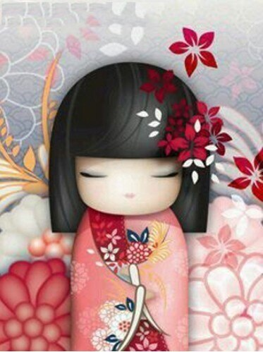 "Kit de Broderie Diamant ""Geisha Cartoon"""