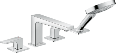 Hansgrohe Metropol 4-Hole Roman Tub Set Trim with Lever Handles and 1.75 GPM Handshower