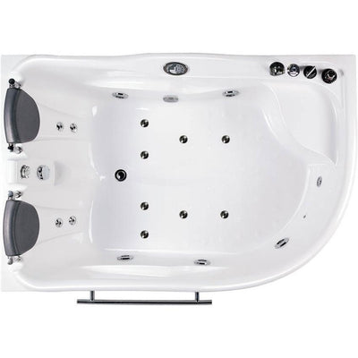 "EAGO AM124-R 71"" Double Corner Acrylic White Jetted Whirlpool Tub - Affordable Cheap Freestanding Clawfoot Bathtubs Tub Top View White Background"