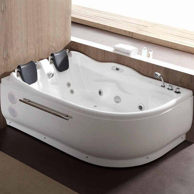 "EAGO AM124-R 71"" Double Corner Acrylic White Jetted Whirlpool Tub Freestanding Bathtubs Top View in Bathroom"