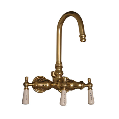 Barclay Products Clawfoot Tub Filler – Leg Tub Diverter Polished Brass in White Background