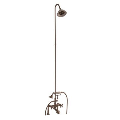 Barclay Products Tub/Shower Converto Unit – Elephant Spout with Handshower Brushed Nickel in White Background