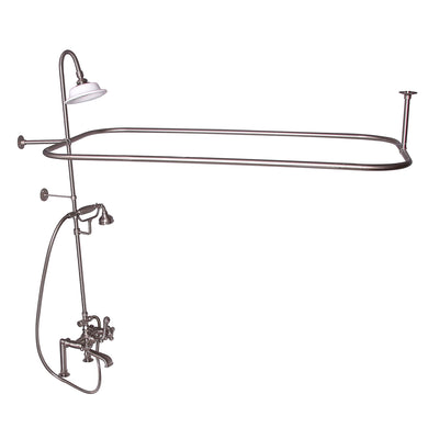 Barclay Products Rectangular Shower Unit – Metal Cross Handles Brushed Nickel in White Background